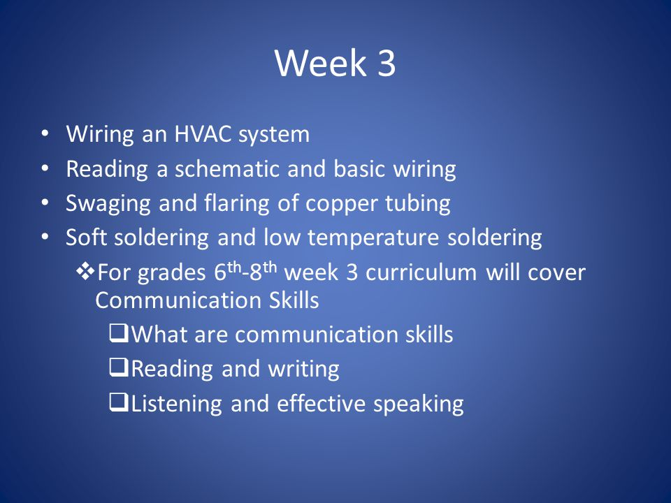 Week 3 Wiring an HVAC system Reading a schematic and basic wiring Swaging and flaring of copper tubing Soft soldering and low temperature soldering 