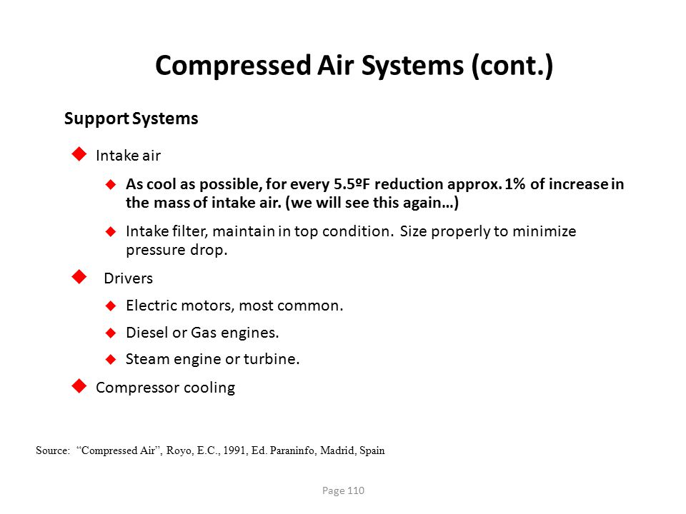 "Page 110 Compressed Air Systems (cont.) Source: ""Compressed Air"", Royo, E.C., 1991, Ed. Paraninfo, Madrid, Spain  Intake air  As cool as possible, f"