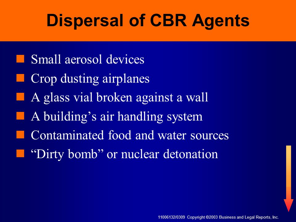 11006132/0309 Copyright ©2003 Business and Legal Reports, Inc. Dispersal of CBR Agents Small aerosol devices Crop dusting airplanes A glass vial broke