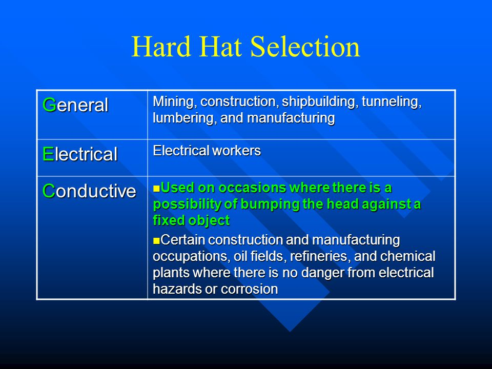 Hard Hat Selection General Mining, construction, shipbuilding, tunneling, lumbering, and manufacturing Electrical Electrical workers Conductive Used o