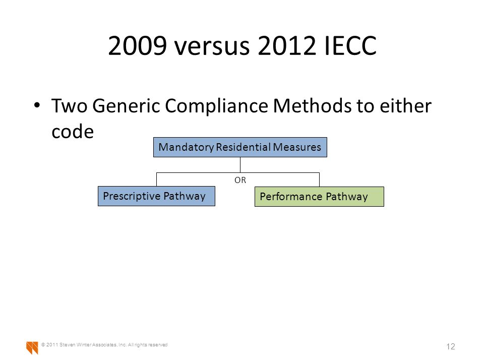 2009 versus 2012 IECC Two Generic Compliance Methods to either code 12 © 2011 Steven Winter Associates, Inc.