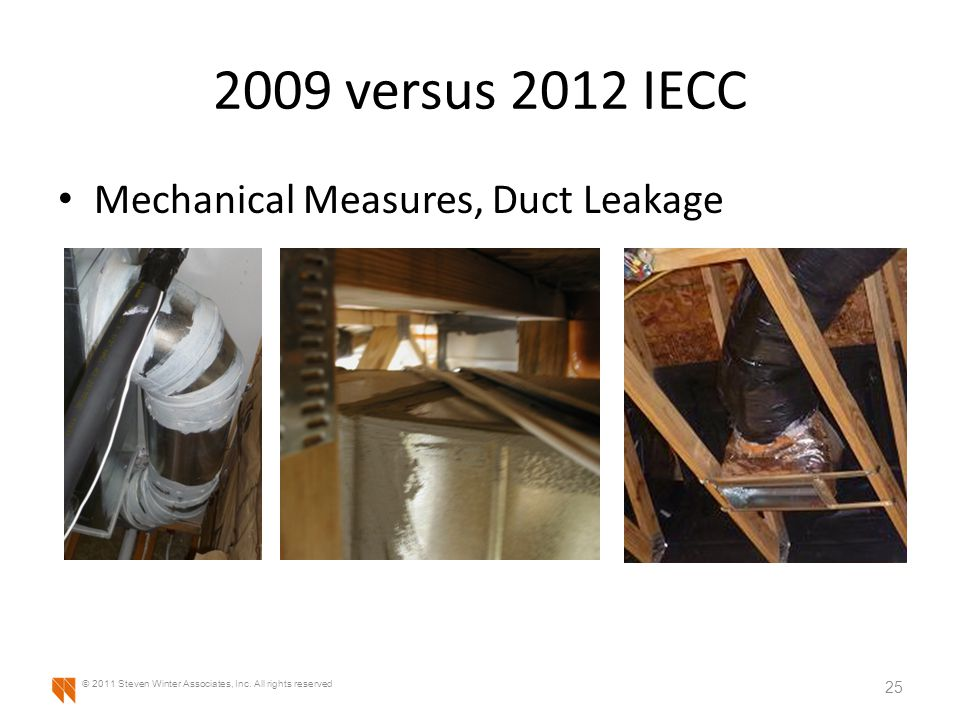 2009 versus 2012 IECC Mechanical Measures, Duct Leakage 25 © 2011 Steven Winter Associates, Inc.