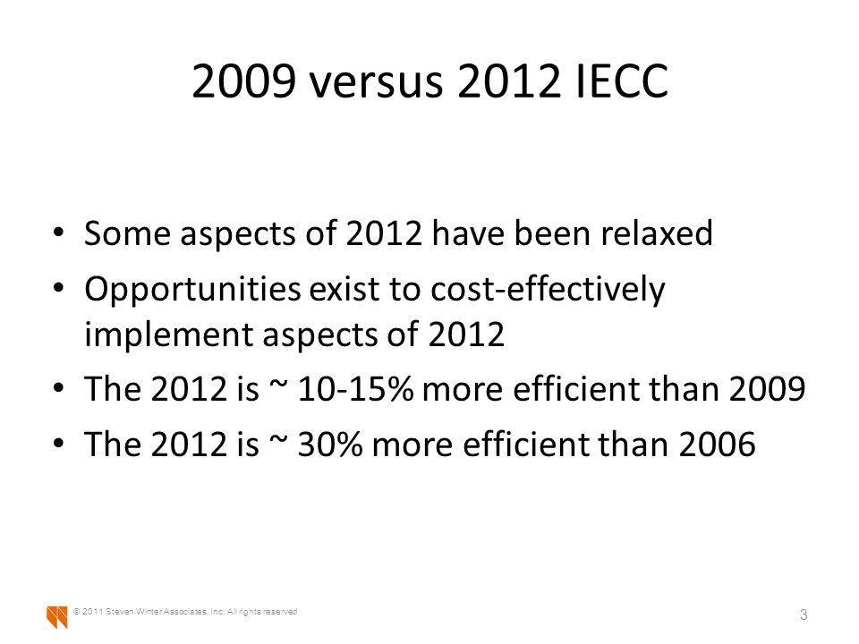 2009 versus 2012 IECC Additional Efficiency – Performance Lighting 44 © 2011 Steven Winter Associates, Inc.