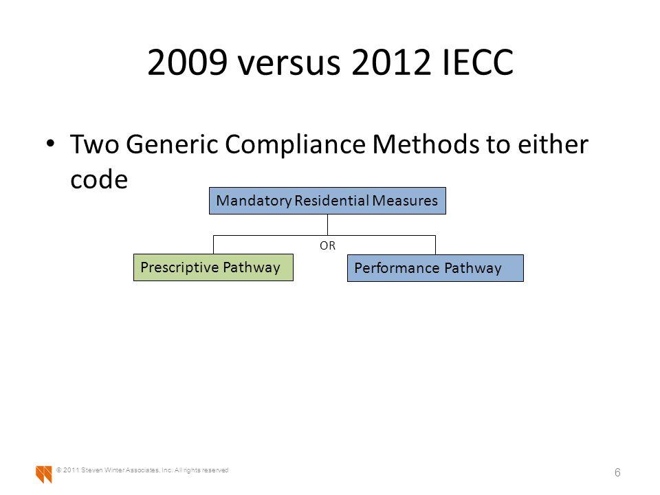 2009 versus 2012 IECC Two Generic Compliance Methods to either code 7 © 2011 Steven Winter Associates, Inc.