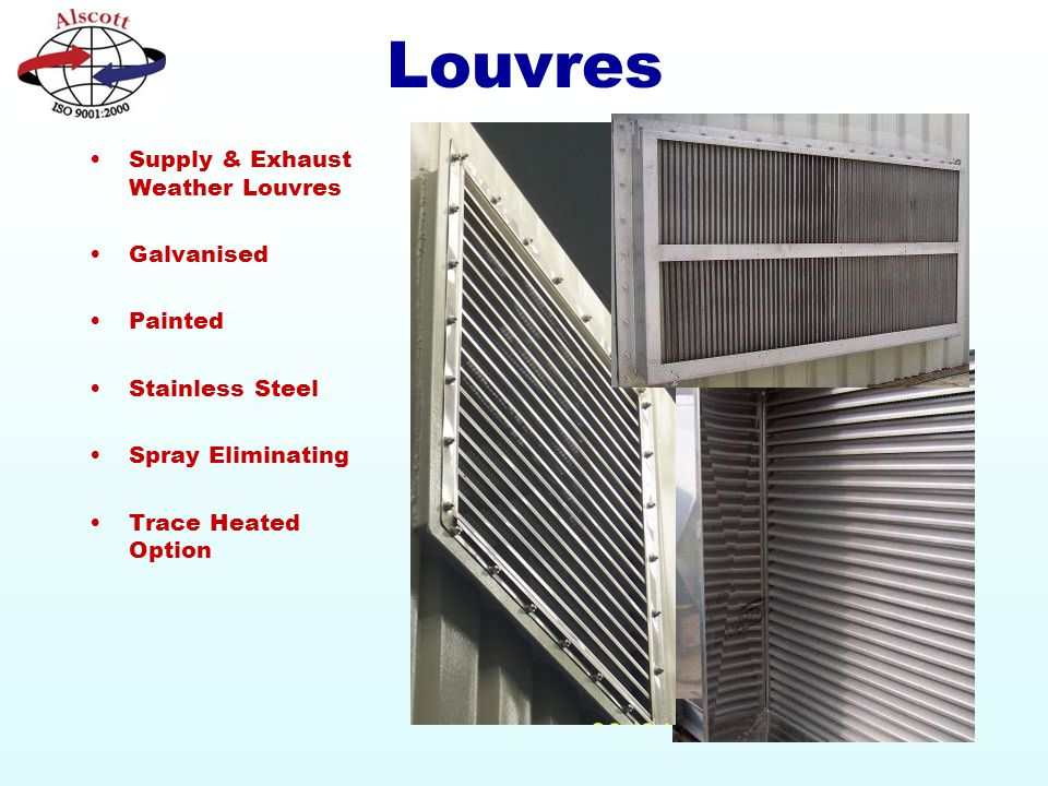 Louvres Supply & Exhaust Weather Louvres Galvanised Painted Stainless Steel Spray Eliminating Trace Heated Option