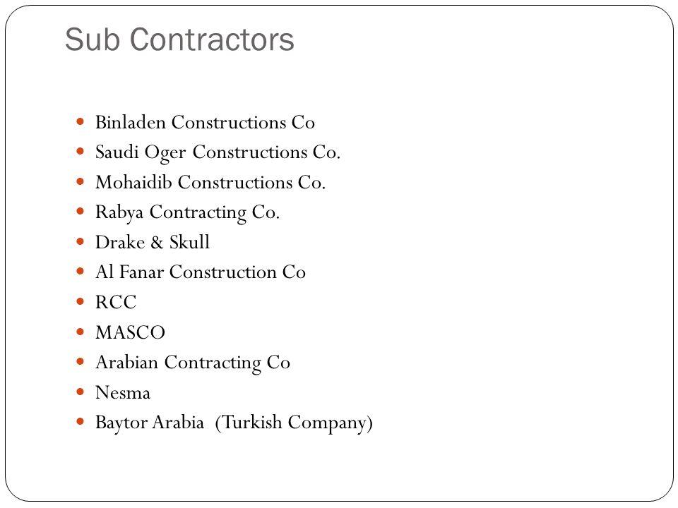 Sub Contractors Binladen Constructions Co Saudi Oger Constructions Co. Mohaidib Constructions Co. Rabya Contracting Co. Drake & Skull Al Fanar Constru