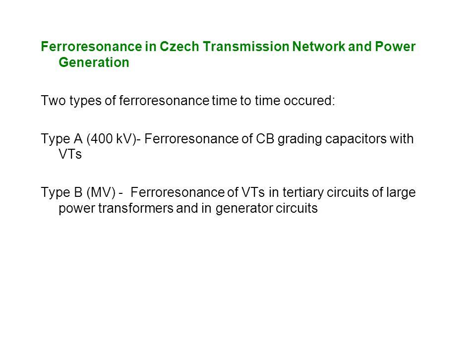 Ferroresonance in Czech Transmission Network and Power Generation Two types of ferroresonance time to time occured: Type A (400 kV)- Ferroresonance of