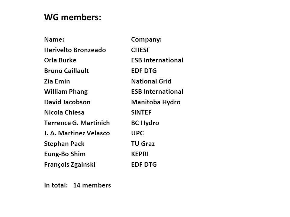 WG members: Name: Company: Herivelto Bronzeado CHESF Orla Burke ESB International Bruno Caillault EDF DTG Zia Emin National Grid William Phang ESB Int