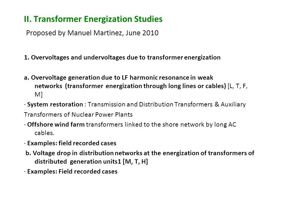 II. Transformer Energization Studies Proposed by Manuel Martinez, June 2010 1. Overvoltages and undervoltages due to transformer energization a. Overv