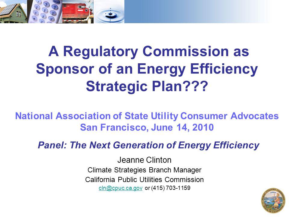 A Regulatory Commission as Sponsor of an Energy Efficiency Strategic Plan .