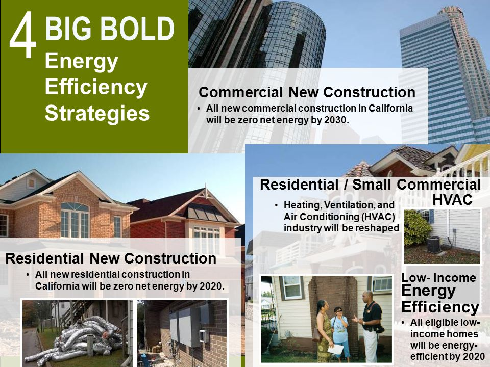 10 All new commercial construction in California will be zero net energy by 2030. Commercial New Construction All new residential construction in Cali