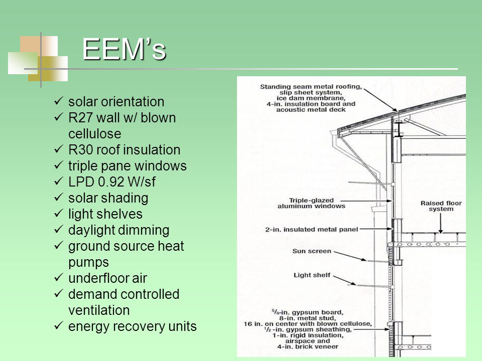 EEM's solar orientation R27 wall w/ blown cellulose R30 roof insulation triple pane windows LPD 0.92 W/sf solar shading light shelves daylight dimming ground source heat pumps underfloor air demand controlled ventilation energy recovery units