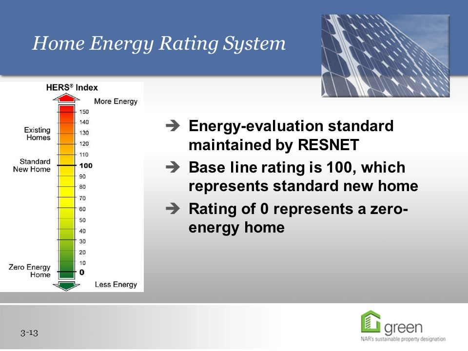 Home Energy Rating System 3-13  Energy-evaluation standard maintained by RESNET  Base line rating is 100, which represents standard new home  Rating of 0 represents a zero- energy home nose
