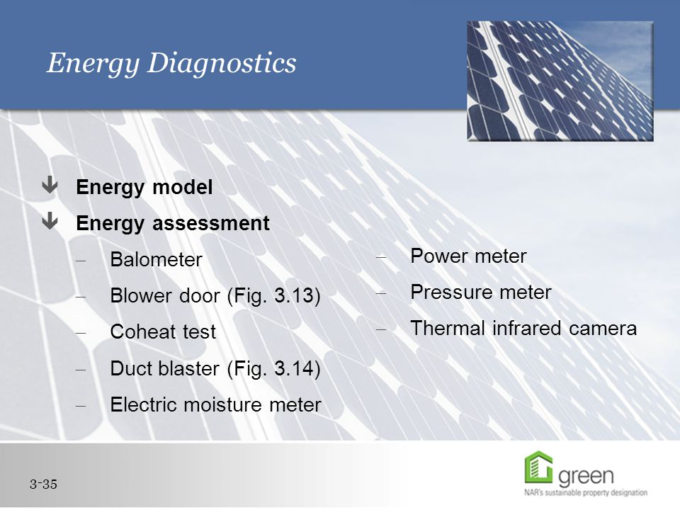 Energy Diagnostics  Energy model  Energy assessment  Balometer  Blower door (Fig.