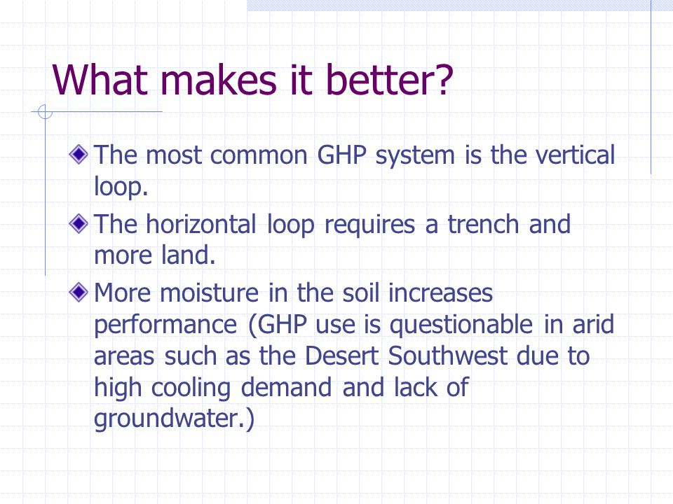 What makes it better. The most common GHP system is the vertical loop.