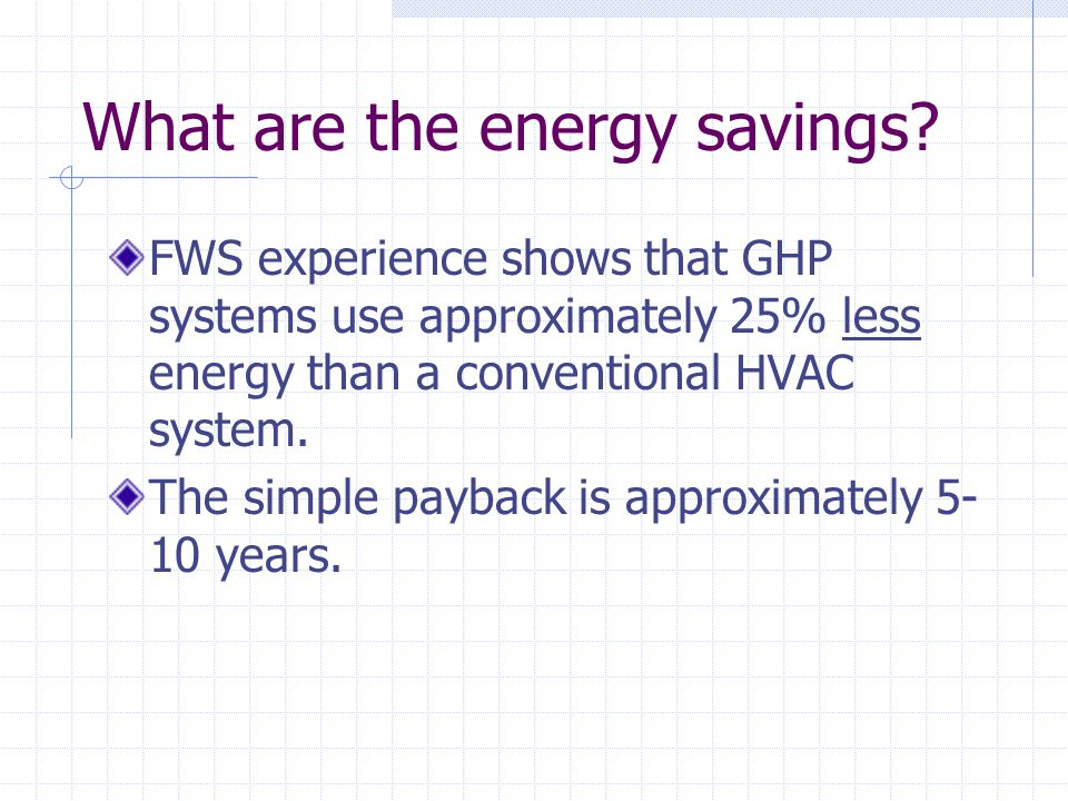 What are the energy savings.
