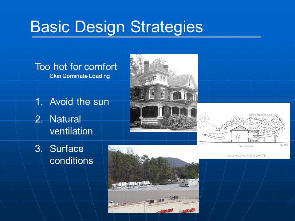 Basic Design Strategies Too hot for comfort Skin Dominate Loading 1.Avoid the sun 2.Natural ventilation 3.Surface conditions