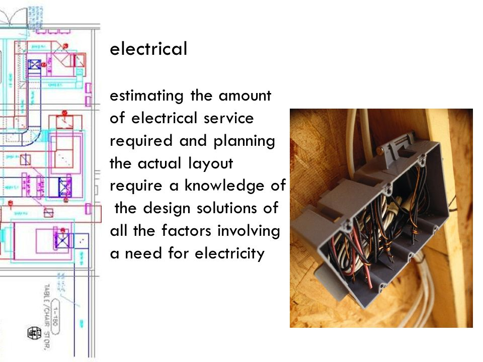 electrical estimating the amount of electrical service required and planning the actual layout require a knowledge of the design solutions of all the factors involving a need for electricity