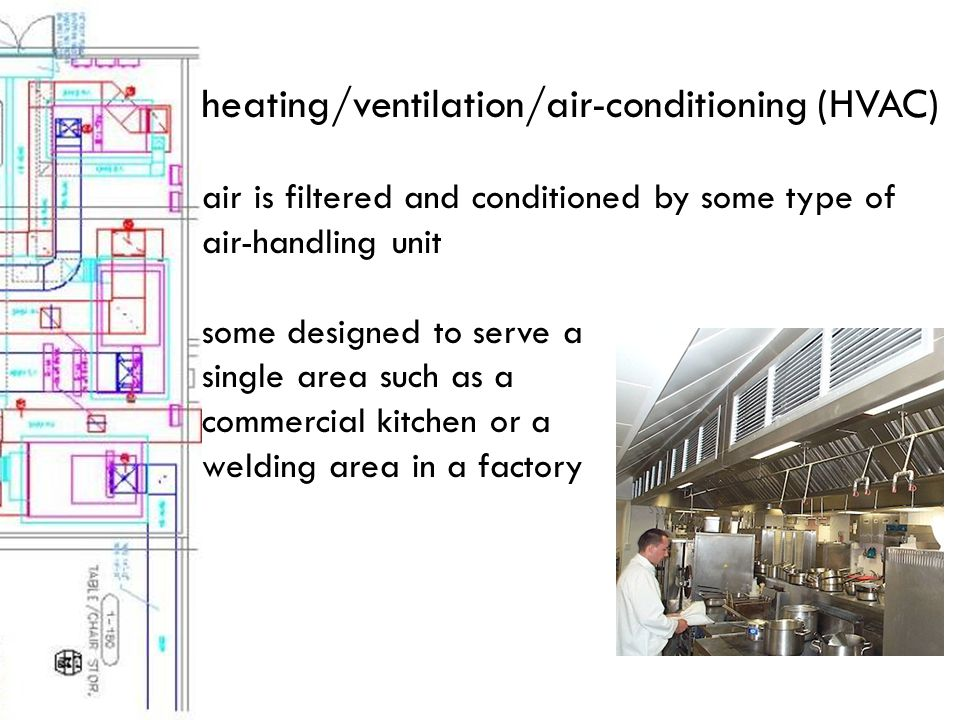 heating/ventilation/air-conditioning (HVAC) air is filtered and conditioned by some type of air-handling unit some designed to serve a single area such as a commercial kitchen or a welding area in a factory