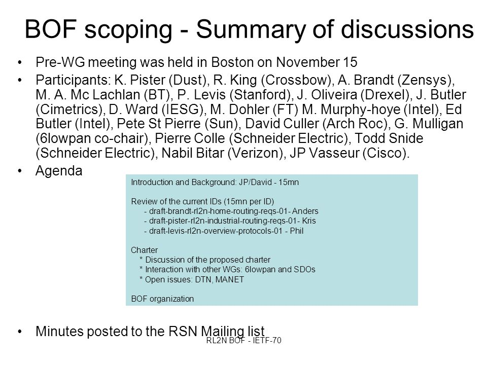 RL2N BOF - IETF-70 BOF scoping - Summary of discussions Pre-WG meeting was held in Boston on November 15 Participants: K.