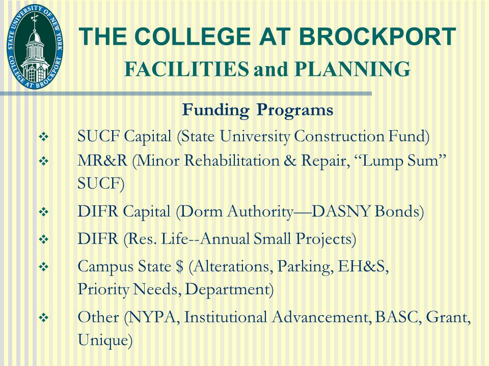 THE COLLEGE AT BROCKPORT Funding Programs  SUCF Capital (State University Construction Fund)  MR&R (Minor Rehabilitation & Repair, Lump Sum SUCF)  DIFR Capital (Dorm Authority—DASNY Bonds)  DIFR (Res.