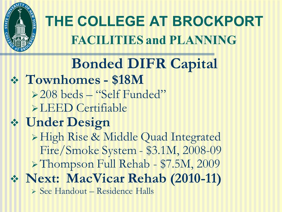 THE COLLEGE AT BROCKPORT Bonded DIFR Capital  Townhomes - $18M  208 beds – Self Funded  LEED Certifiable  Under Design  High Rise & Middle Quad Integrated Fire/Smoke System - $3.1M, 2008-09  Thompson Full Rehab - $7.5M, 2009  Next: MacVicar Rehab (2010-11)  See Handout – Residence Halls FACILITIES and PLANNING
