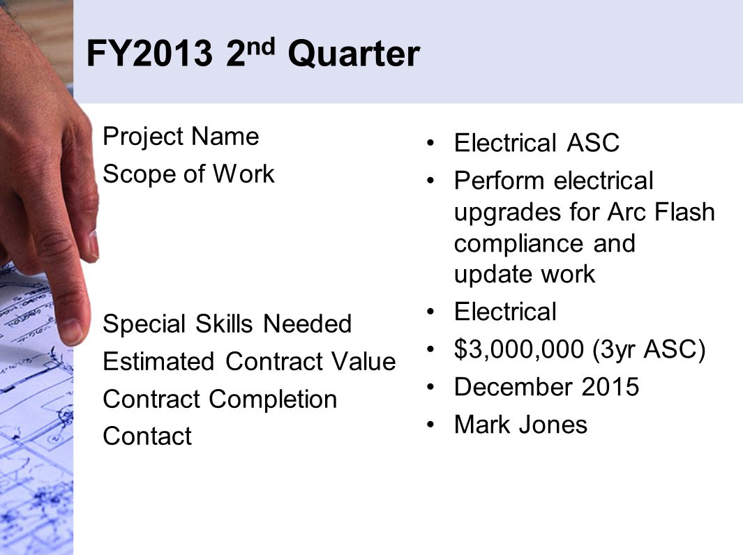 FY2013 2 nd Quarter Project Name Scope of Work Special Skills Needed Estimated Contract Value Contract Completion Contact Electrical ASC Perform elect