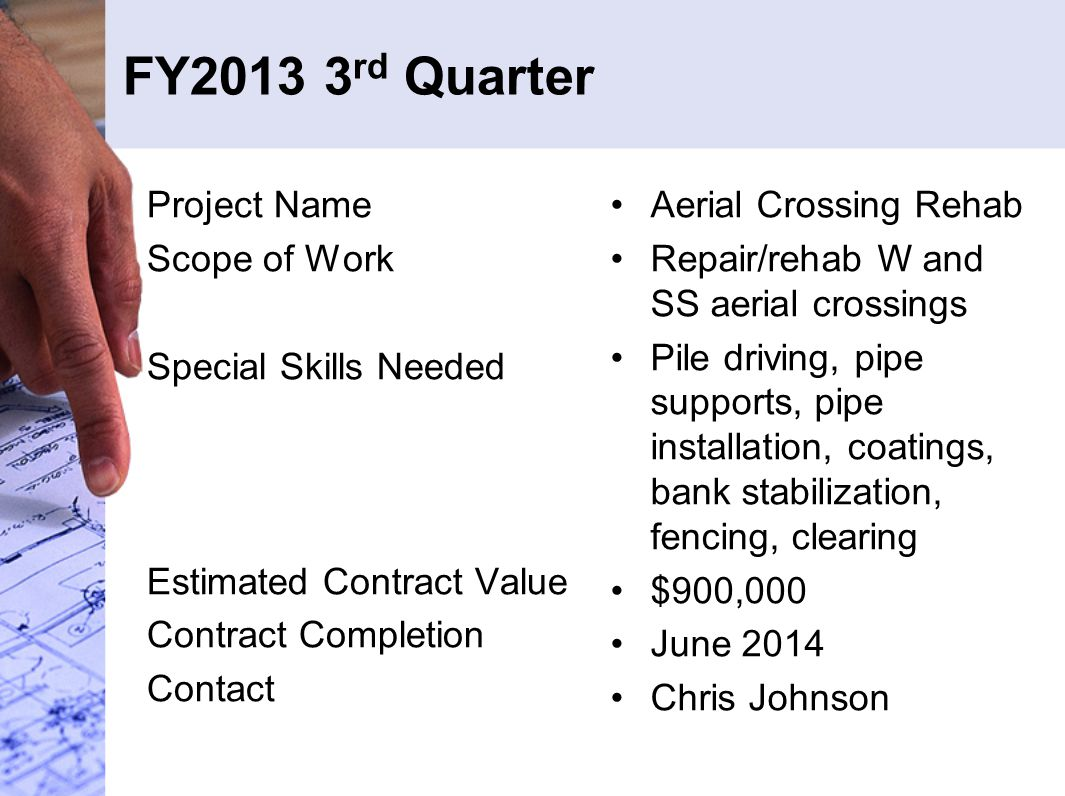 FY2013 3 rd Quarter Project Name Scope of Work Special Skills Needed Estimated Contract Value Contract Completion Contact Aerial Crossing Rehab Repair