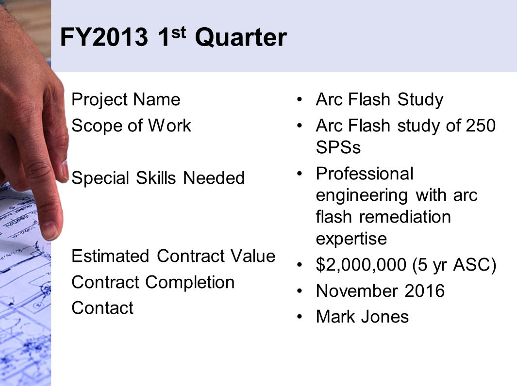 FY2013 1 st Quarter Project Name Scope of Work Special Skills Needed Estimated Contract Value Contract Completion Contact Arc Flash Study Arc Flash study of 250 SPSs Professional engineering with arc flash remediation expertise $2,000,000 (5 yr ASC) November 2016 Mark Jones