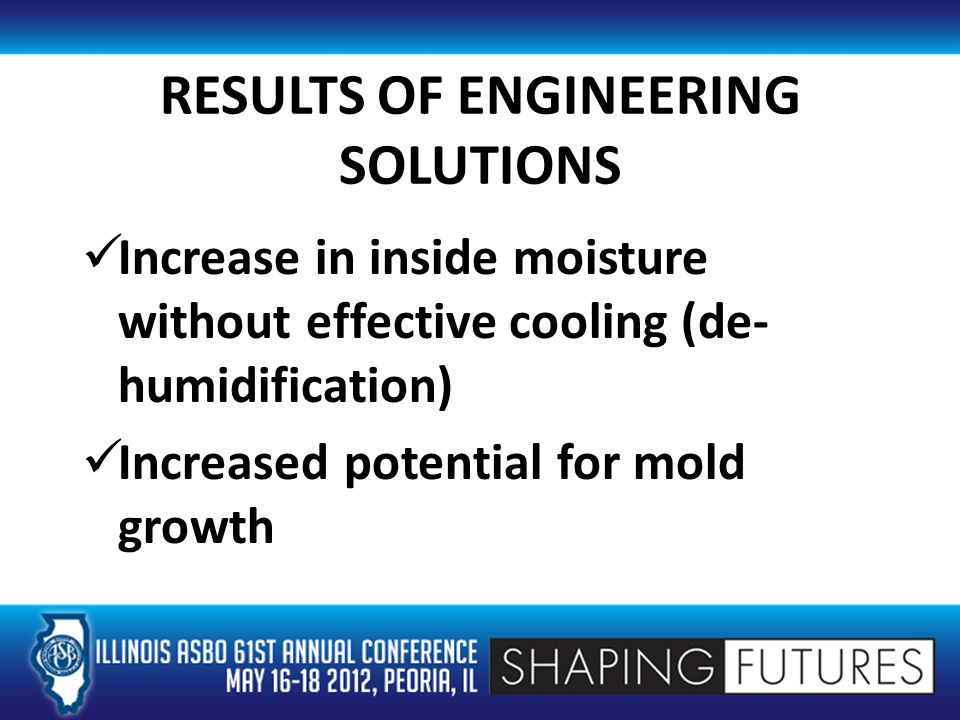 RESULTS OF ENGINEERING SOLUTIONS Increase in inside moisture without effective cooling (de- humidification) Increased potential for mold growth
