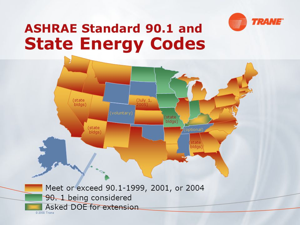© 2008 Trane ASHRAE Standard 90.1 and State Energy Codes Asked DOE for extension Meet or exceed 90.1-1999, 2001, or 2004 90. 1 being considered (state