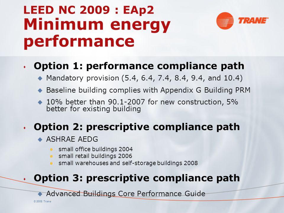 © 2008 Trane LEED NC 2009 : EAp2 Minimum energy performance s Option 1: performance compliance path u Mandatory provision (5.4, 6.4, 7.4, 8.4, 9.4, and 10.4) u Baseline building complies with Appendix G Building PRM u 10% better than 90.1-2007 for new construction, 5% better for existing building s Option 2: prescriptive compliance path u ASHRAE AEDG l small office buildings 2004 l small retail buildings 2006 l small warehouses and self-storage buildings 2008 s Option 3: prescriptive compliance path u Advanced Buildings Core Performance Guide