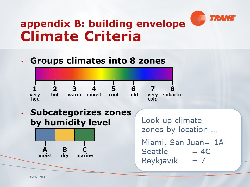© 2008 Trane Look up climate zones by location … Miami, San Juan= 1A Seattle= 4C Reykjavik= 7 Look up climate zones by location … Miami, San Juan= 1A