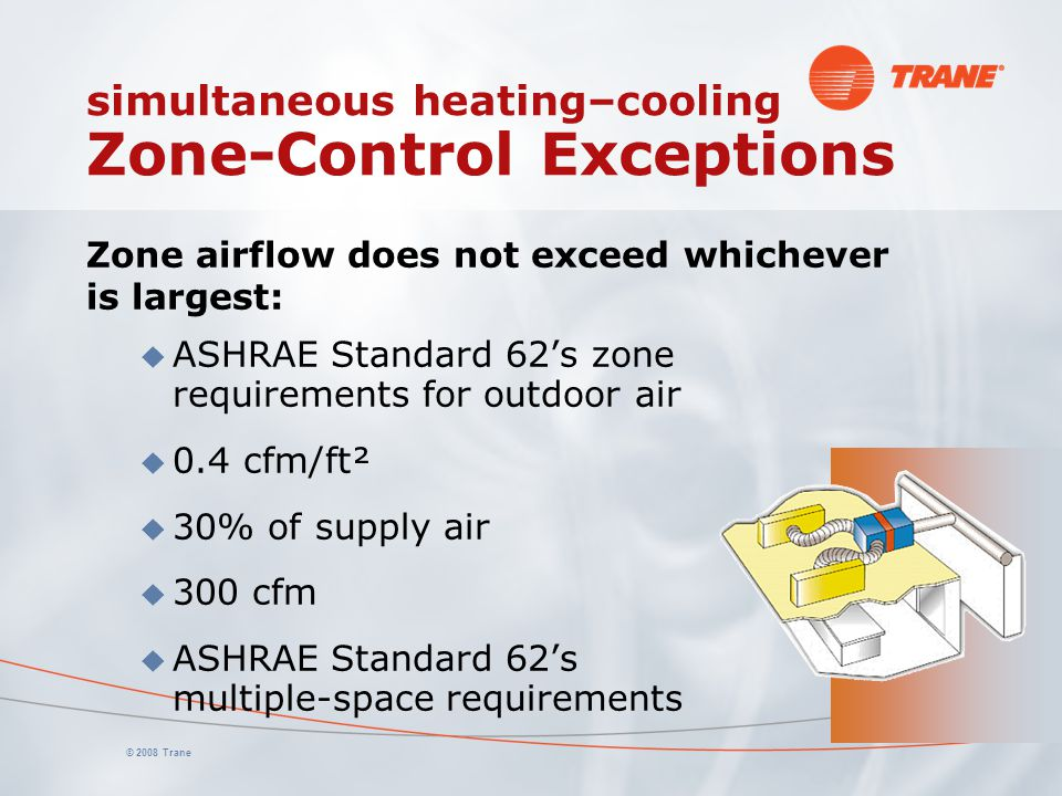© 2008 Trane simultaneous heating–cooling Zone-Control Exceptions Zone airflow does not exceed whichever is largest: u ASHRAE Standard 62's zone requi