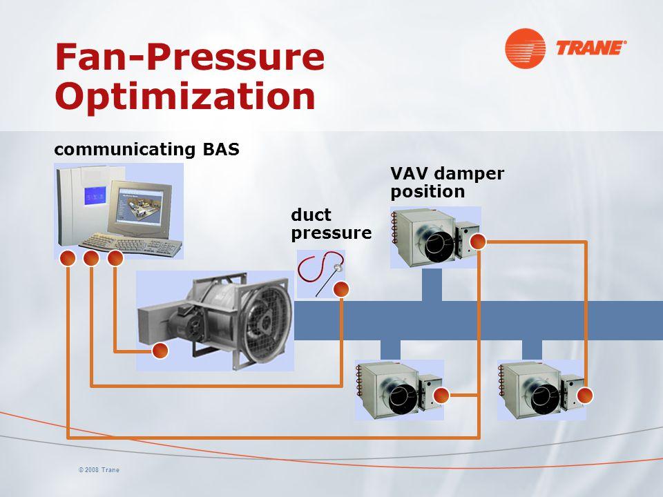 © 2008 Trane Fan-Pressure Optimization communicating BAS duct pressure VAV damper position