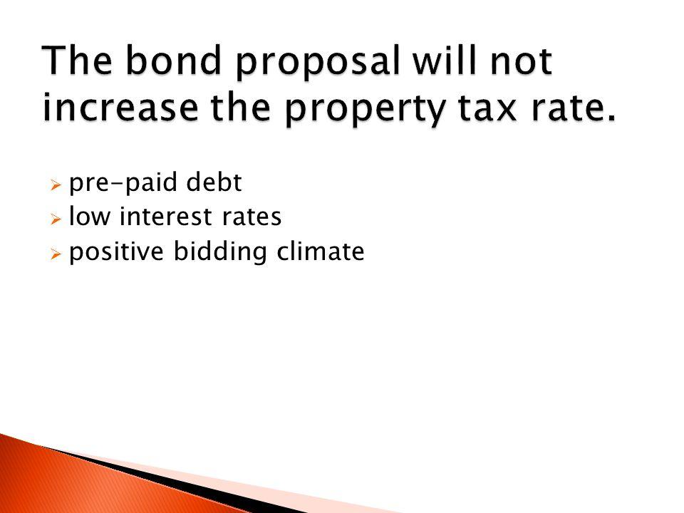  pre-paid debt  low interest rates  positive bidding climate