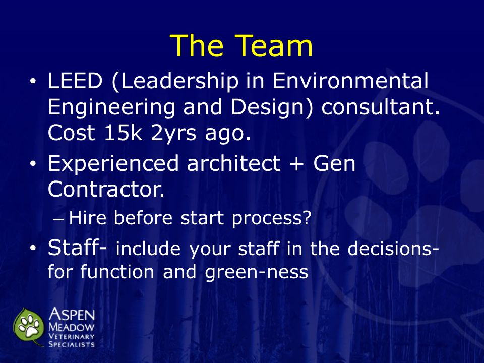 The Team LEED (Leadership in Environmental Engineering and Design) consultant.