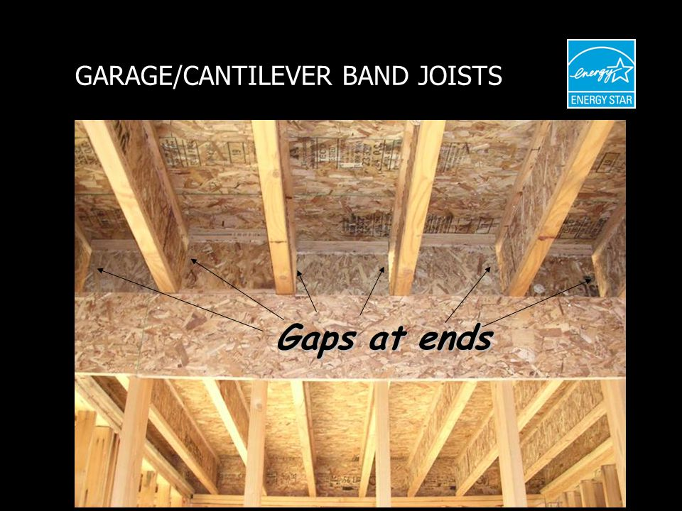 GARAGE/CANTILEVER BAND JOISTS Gaps at ends