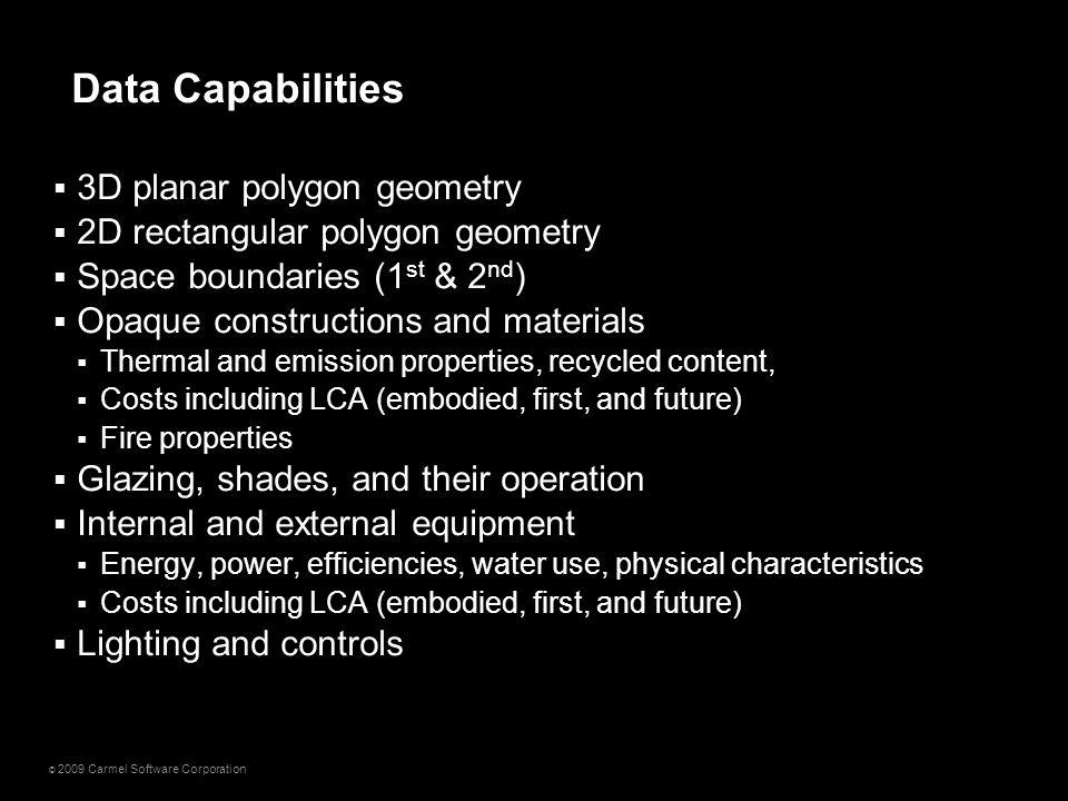 © 2009 Carmel Software Corporation  3D planar polygon geometry  2D rectangular polygon geometry  Space boundaries (1 st & 2 nd )  Opaque construct