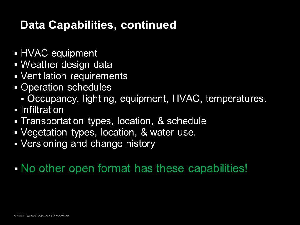 © 2009 Carmel Software Corporation  HVAC equipment  Weather design data  Ventilation requirements  Operation schedules  Occupancy, lighting, equi