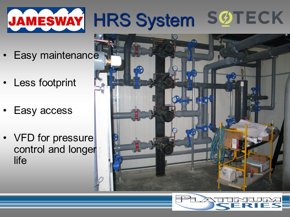 HRS System Easy maintenance Less footprint Easy access VFD for pressure control and longer life