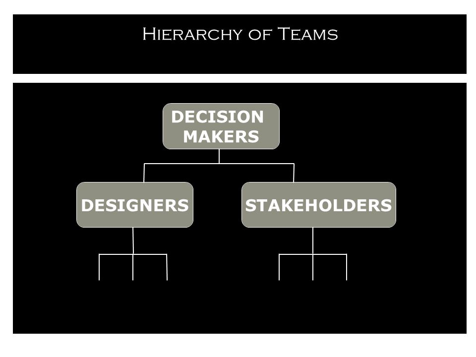 Hierarchy of Teams STAKEHOLDERS DECISION MAKERS