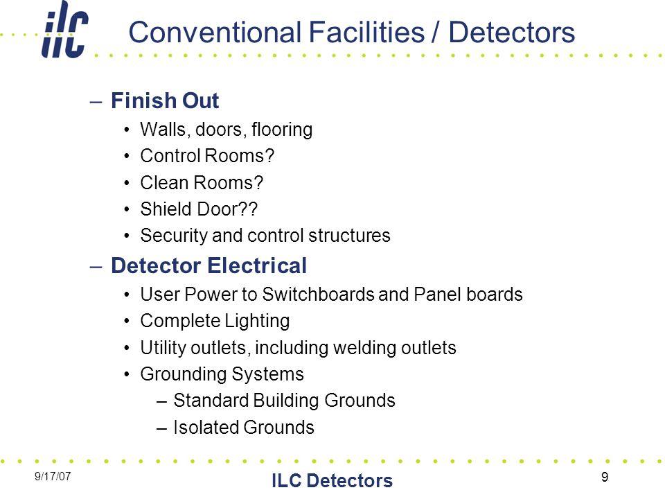 9/17/07 ILC Detectors 9 Conventional Facilities / Detectors –Finish Out Walls, doors, flooring Control Rooms.