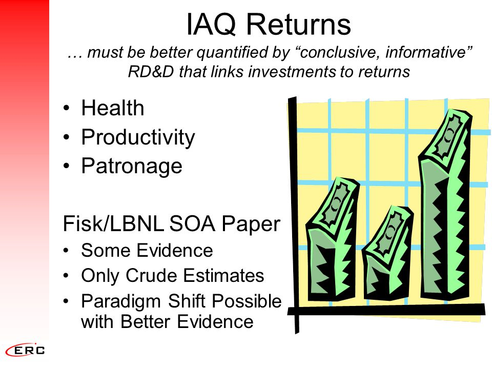 IAQ is Many Sciences Indoor Air July 2001Editorial: … true science within areas like Indoor Air Quality … must be truly multidisciplinary … [and] report association, or lack of association, between indoor exposures and health, comfort, productivity, … microbiology (bioaerosols) Medicine mechanical (HVAC) civil & materials (building technology) epidemiology (biostatistics) occupational & environmental health (industrial hygienists) electrical (controls) mycology (fungi) engineering economics Engineering chemical (contaminants)