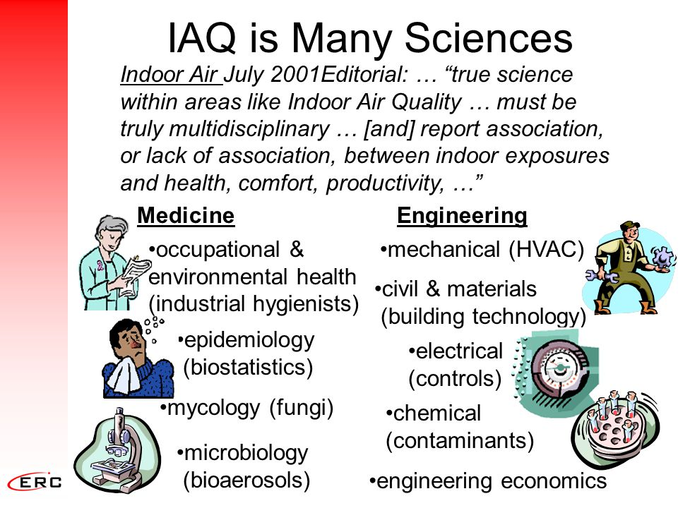 """IAQ is Many Sciences Indoor Air July 2001Editorial: … """"true science within areas like Indoor Air Quality … must be truly multidisciplinary … [and] rep"""