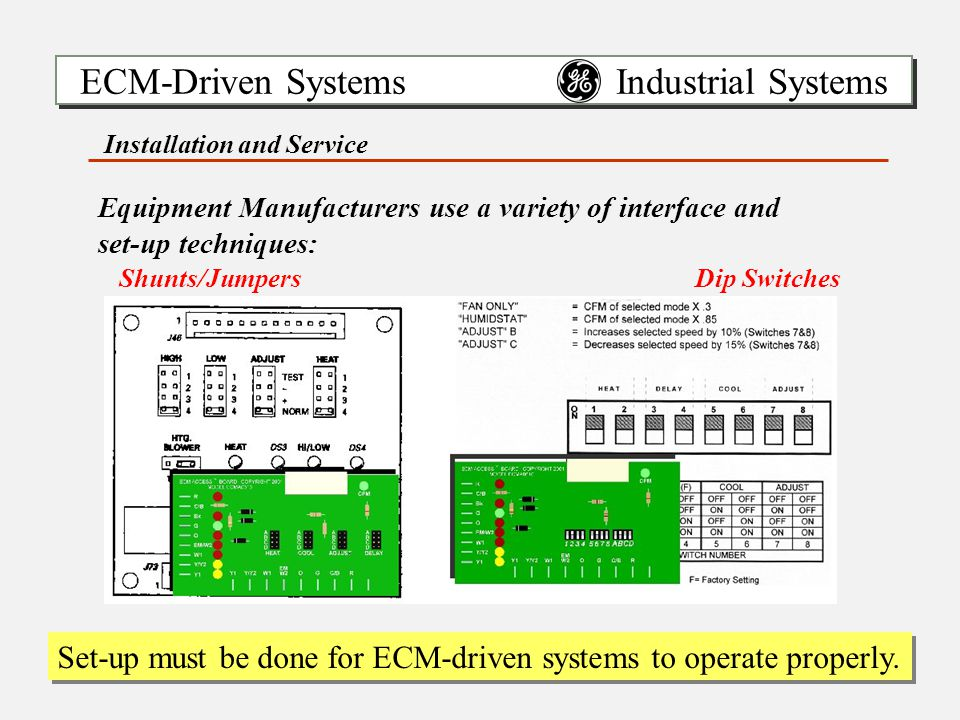 ECM-Driven Systems Industrial Systems Set-up must be done for ECM-driven systems to operate properly.