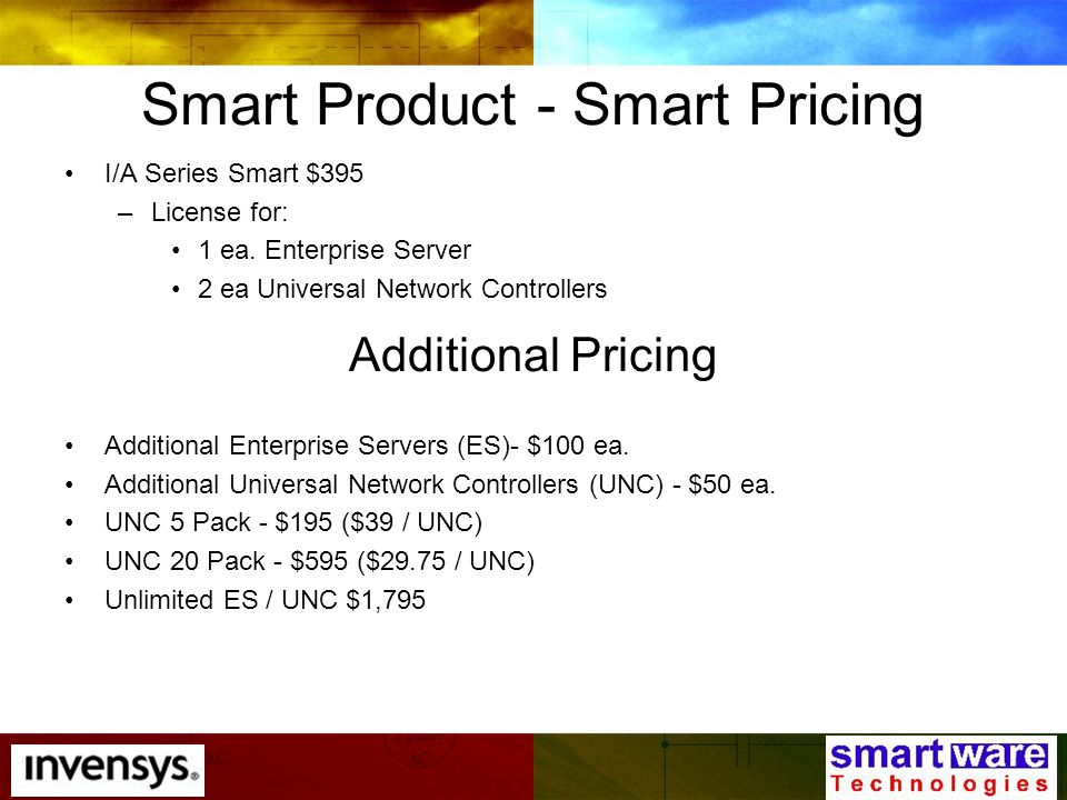 Smart Product - Smart Pricing I/A Series Smart $395 –License for: 1 ea.