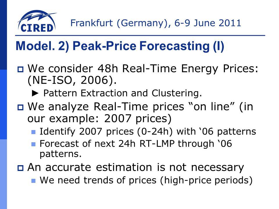 Frankfurt (Germany), 6-9 June 2011 Model. 2) Peak-Price Forecasting (I)  We consider 48h Real-Time Energy Prices: (NE-ISO, 2006). ► Pattern Extractio
