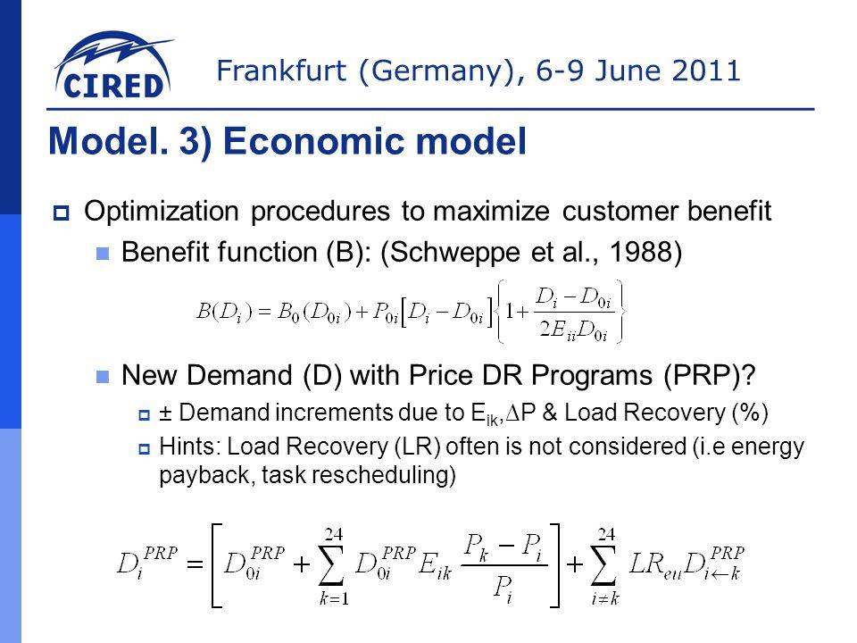 Frankfurt (Germany), 6-9 June 2011 Model. 3) Economic model  Optimization procedures to maximize customer benefit Benefit function (B): (Schweppe et