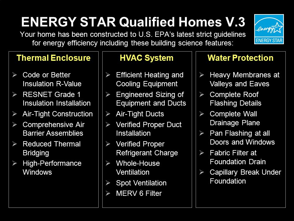 ENERGY STAR Qualified Homes V.3 Your home has been constructed to U.S.